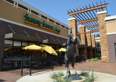 Main Street Plaza shopping center in Weatherford Texas, featuring Sunny Street Cafe