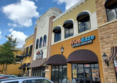 The Village at Sports Center in Arlington Texas, showcasing tenants Fried Daze and Mr Hibachi