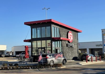 151 Coffee, a drive-thru coffee shop in the Rufe Snow Village shopping center in North Richland Hills TX