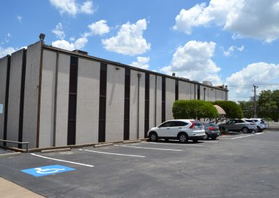 Chamberlin Heights office building in Fort Worth TX - back entrance and parking lot
