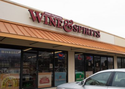 West Highlands Wine & Spirits, a liquor store in the West Highlands Shopping Plaza in Tulsa OK