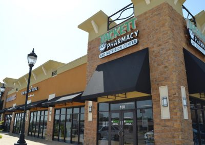 College Park shopping center in Weatherford TX featuring Tackett Pharmacy