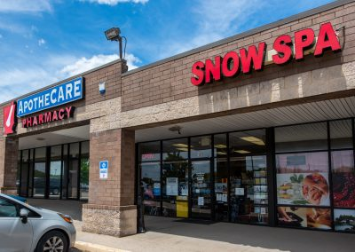 Snow Spa, a massage spa, and ApotheCARE Pharmacy, a pharmacy, in the Radcliff Square shopping center in Radcliff KY