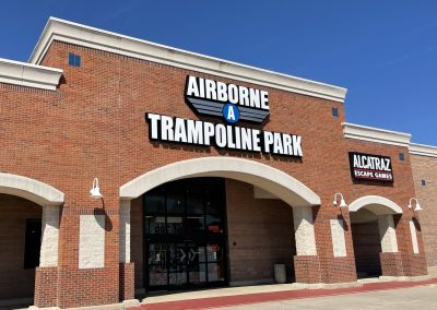 Airborne Trampoline Park and Alcatraz Escape Games, entertainment tenants at the West Stage shopping center in North Richland Hills TX