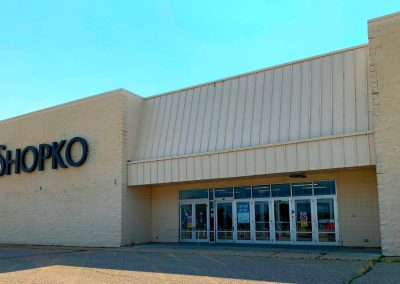 Front entrance of the Former Shopko freestanding retail building available in Marshall MN